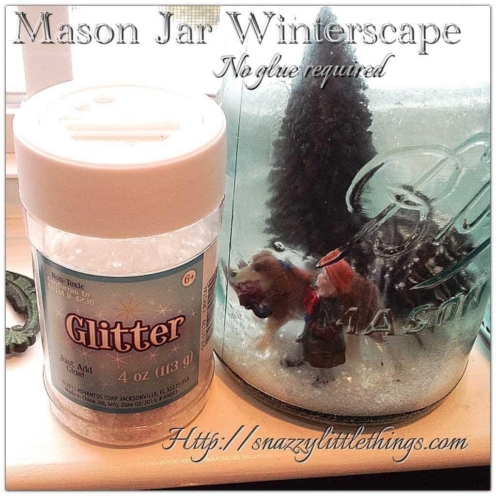 glitter for mason jar winterscape
