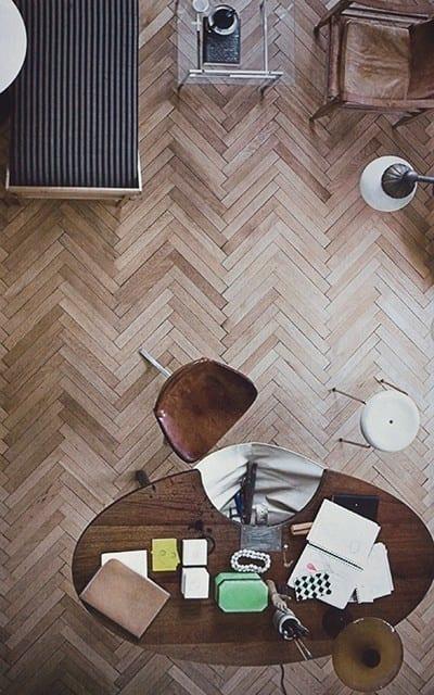 Herringbone pattern wood flooring