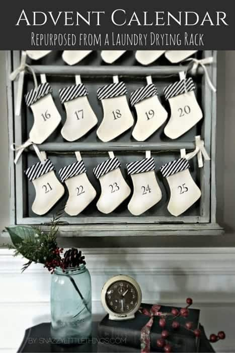 Upcycled Advent Calendar with DIY numbered stockings by SnazzyLittleThings.com