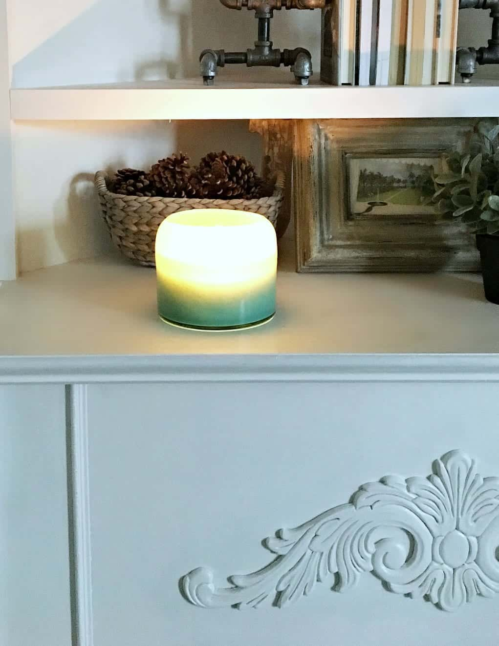Winter Home Tour Corner Fireplace with Candle