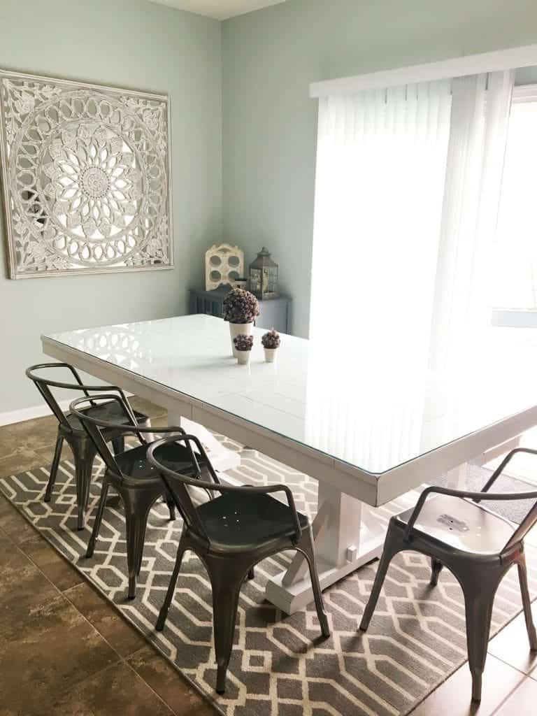 Dark Farmhouse Table Painted White Trestle Table